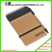 Cuaderno reciclado promocional personalizado barato con pluma (EP-N1083)