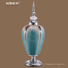 couvercle métallique et vases de poterie de base en couleur bleu clair à prix promotionnel à vendre