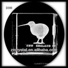 K9 3D Laser Kiwi Oiseau à l'intérieur du rectangle de cristal