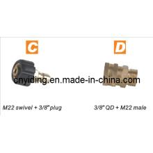 """Hochdruckreiniger Messingkupplung (M22 schwenkbar + 3/8 """"Stecker)"""
