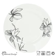 Porcelana blanca con placa decorativa de flores