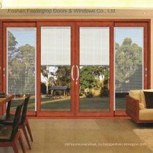 Дома алюминий закаленное стекло раздвижные двери (фут-Д120)