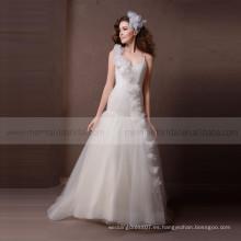 Sweetheart línea plisada vestido de novia de tul con flores hechas a mano