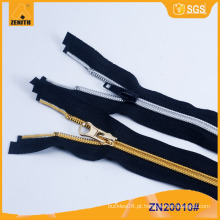 5 # Nylon Prata Dentes Dourados Nylon Zipper ZN20010