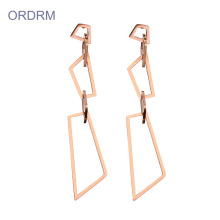 Mudah dimakan Rose Gold Geometric Dangle Earrings