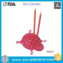 Розовый Черепаха Керамический Столик Декоративный Держатель Пера