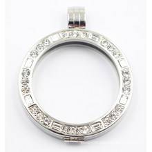 Silver Floating Locket with A Grade Zirconia Fashion Pendant