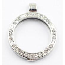Locket flutuante de prata com um pingente da forma do Zirconia da classe