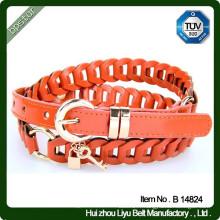 Fausse ceinture en cuir pour femme tricoté tranchant pu ceinture ceinture nouvelle mode avec boucle en métal