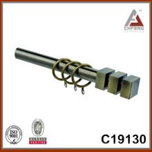 C19130 mordern finials de la barra de la cortina del metal de la suposición, doble sola barra de la cortina fijada
