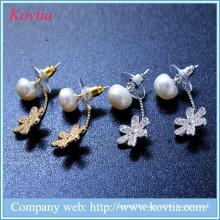 Lucky flower stud earrings cz diamond petal earring freshwater pearl jewelry findings