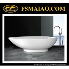 Banheira autônoma da resina de pedra do branco lustroso & do projeto moderno (BS-8606)