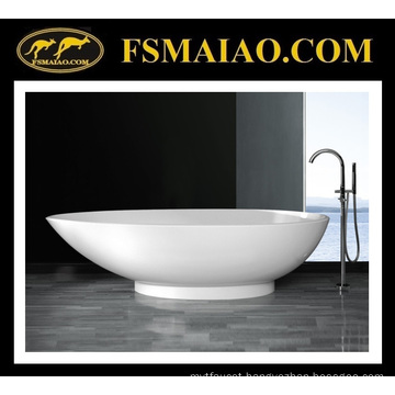 Stone Resin Freestanding Bathtub of Glossy White & Modern Design (BS-8606)