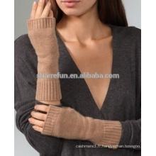 Usine en gros de bonne qualité plat tricoté 100% cachemire mitaines gants