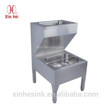 Edelstahl Utility Commercial Bodenmontage Doppelschalen Handwaschbecken lauration Eimer Reiniger Mop Spüle für den öffentlichen Gebrauch