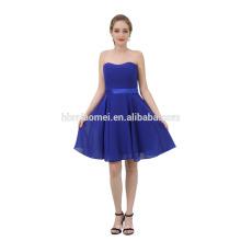 Robe de soirée courte sexy en mousseline de soie bleu saphir pour femme