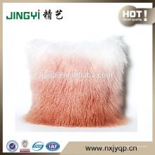 La vente rapide d'oreillers de fourrure d'agneau mongol tibétain dégradent la couleur