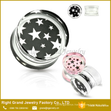 Star Pattern Print Encased in Acrylic Double Flared Tunnel Saddle Plugs