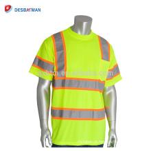 Best Selling Hi-Vis Amarelo Trabalho T-shirt 100% Poliéster Birdseye Malha Round Segurança Tees Com 2-Tom Reflexivo Tiras