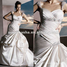 Strapless satin sweetheart neckline beaded cap sleeves wedding dress