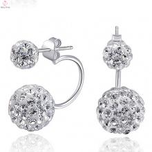 925 Sun Silver Earrings Stud Post con Cz Diamond Jewelry