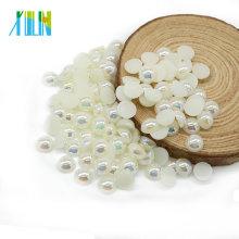 De calidad superior A4-off blanco AB media ronda Faux Craft Cabochon perlas sin agujeros para el vestido de boda