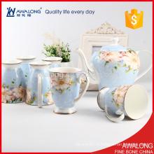 Tasse en porcelaine bleu clair et pot de café élégance cadeau de retour de mariage