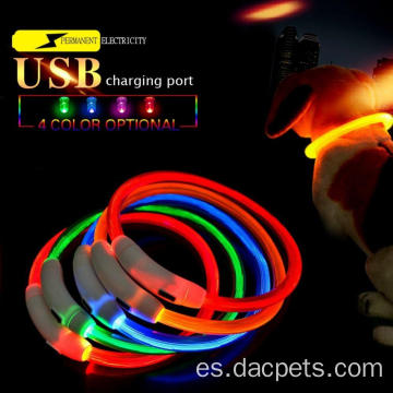 Collar recargable de collar de mascotas LED de seguridad nocturna USB