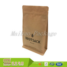 Diseño único de estante levantarse bolsa cuadrada de papel de Kraft de la caja cuadrada de fondo plano con cremallera