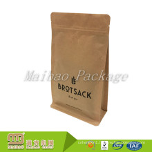 Unique Design off Shelf Stand up Square Box Flat Bottom Gusset Kraft Paper Foil Bag with Zipper