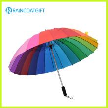 Arco iris Color personalizado impreso poliester Golf paraguas paraguas recto