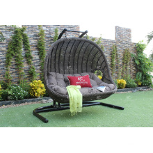 Double Seater Outdoor Patio Garden Wicker Swing Chair Poly Rattan Hammock