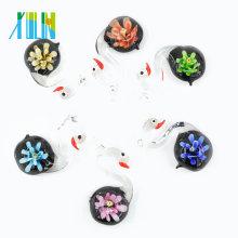 MC0090 Hottest Handmade 3D Lampwork Glasur Anhänger Glas Schwan für die Dekoration mit Mix Farben 12pcs / Box