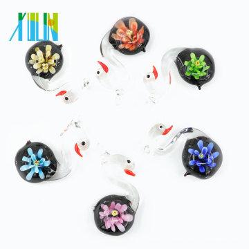 MC0090 Hottest Handmade 3D Lampwork Glaze Pendentifs verre Swan pour la décoration avec mélanger les couleurs 12 pcs / boîte