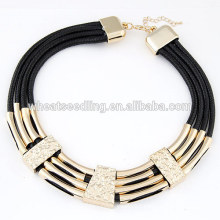 All match new square leather wax cord necklace