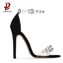 simple PVC strap high heel girl sandals