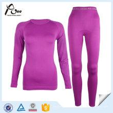 100 Polyesyer Seamless Warm Planície Underwear Set para as Mulheres