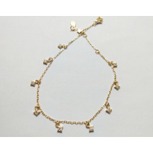 Fashion 925 sterling silver jewelry Square Gold Plated Zircon Bracelet