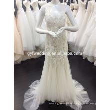 2015 Nueva Sexy Lace sirena vestidos Champagne Beach Deep V-cuello abierto trasera Appliqued Tulle falda vestidos de novia en línea A076