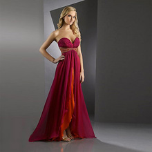 Elegant Dramatic Two colors A-line Sweetheart neckline Strapless Chapel Train Chiffon Ruffled Beading Prom Dress
