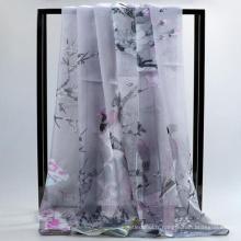 Confortable jolies femmes imprimer en gros mousseline de soie grand long hijab et écharpe en soie été