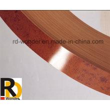 Hochglanzfarbige Holzkornfarbe PVC-Kantenanordnung