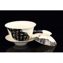 China News Paper Painting Porcelain Gaiwan