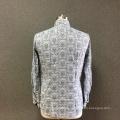 Men's cotton grey printed long sleeves shirt
