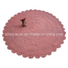 Personalizado OEM Handmade Knit Crochet Algodão Round Rug Blanket Factory