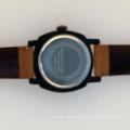 gun case dial calendar quartz movement leather wrist watch men