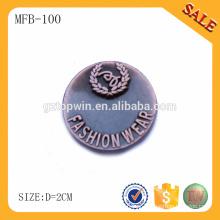 MFB100 Costume antigo botão de roupa de cobre, botões de metal decorativos para jeans / casacos