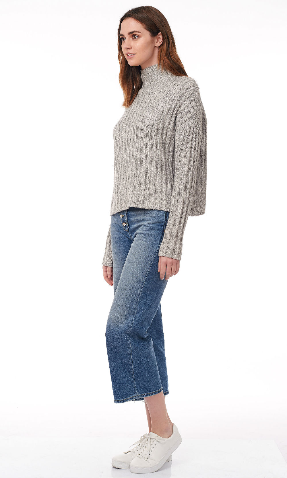 glacier turtle neck wide rib knitwear side look