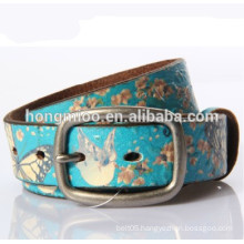 lady's drawing printing genuine leather belt peace dove pattern embossing belt Vintage belt street culture