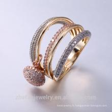 La ville de bijoux en or de ville en ligne mélangent l'anneau avec CZ